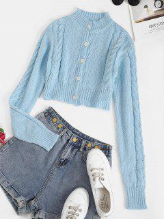 Cropped Button Up Cable Knit Cardigan - Light Blue