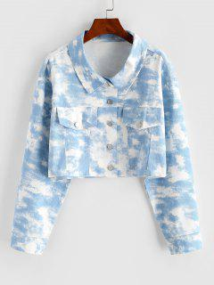 Tie Dye Crop Shirt Jacket - Light Blue M
