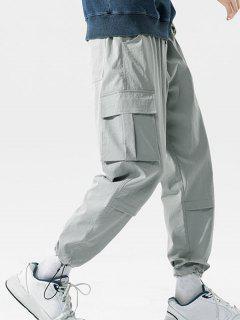 Pantalon Cargo Motif De Lettre Rayé Avec Poche à Rabat - Gris Clair 3xl