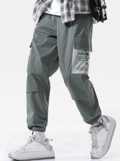 Pantalon Cargo Lettre Jointif Cousu - Gris Foncé Xl