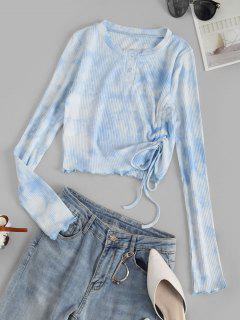 Tie Dye Ribbed Lettuce Trim Cinched Henley T-shirt - Baby Blue S