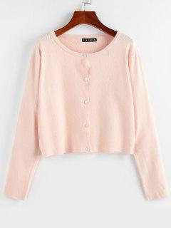 ZAFUL Button Up Plain Jersey Cardigan - Light Pink S