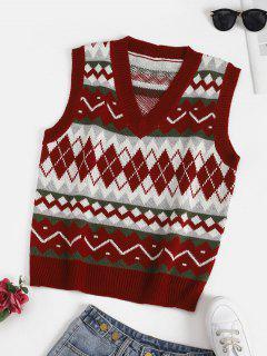 Geometric V Neck Sweater Vest - Red Wine