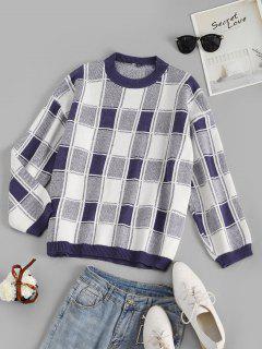 Grid Drop Shoulder Loose Sweater - Multi-a