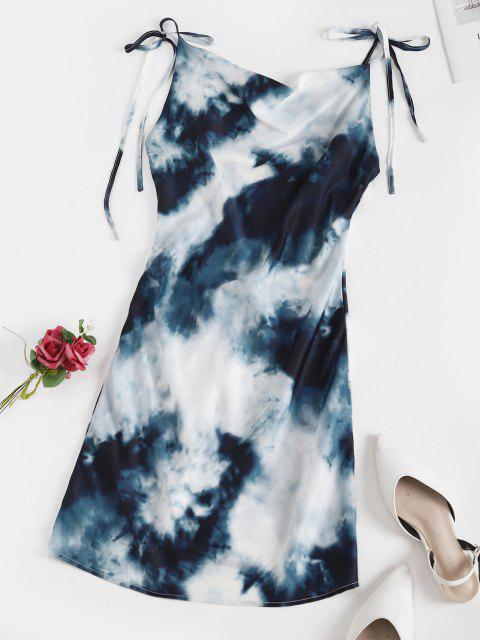 Krawattenfärbendes Ärmelloses Minikleid mit Kapuze - Blau M Mobile