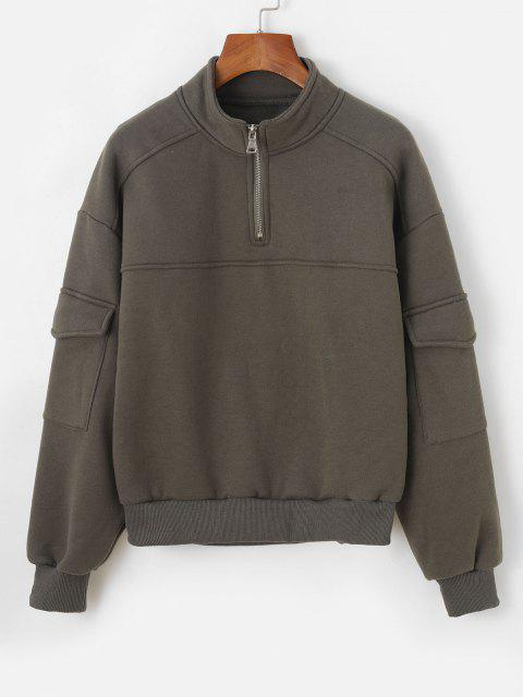 Half Zip Flap Pockets Cargo Sweatshirt - أخضر M Mobile