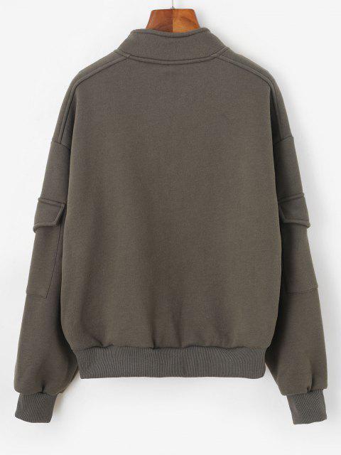 hot Half Zip Flap Pockets Cargo Sweatshirt - GREEN L Mobile