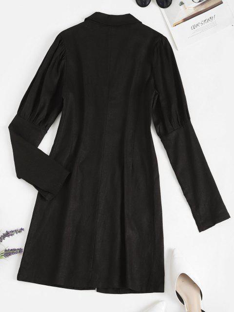 hot Lapel Button Loop Pockets Mini Dress - BLACK L Mobile
