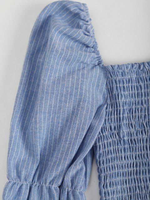 fancy Puff Sleeve Stripes Smocked Milkmaid Blouse - BLUE ONE SIZE Mobile