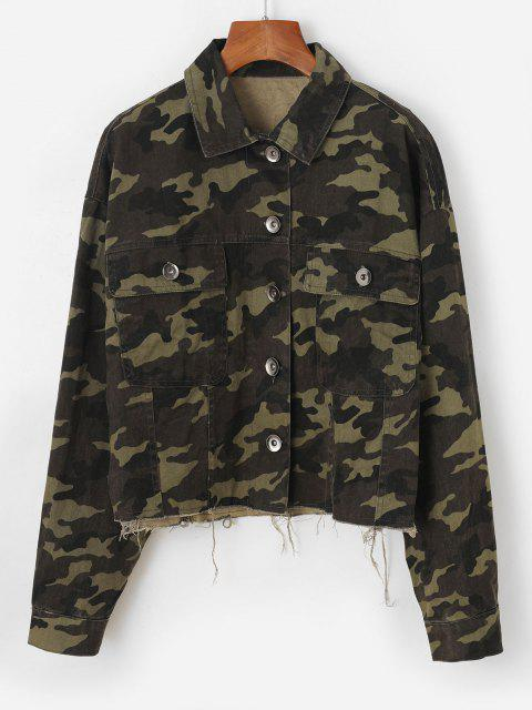 outfits Frayed Hem Camouflage Button Up Cargo Jacket - DEEP GREEN S Mobile