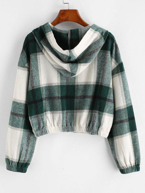 Plaid Fleece Zip Hooded Jacket - اخضر فاتح S Mobile
