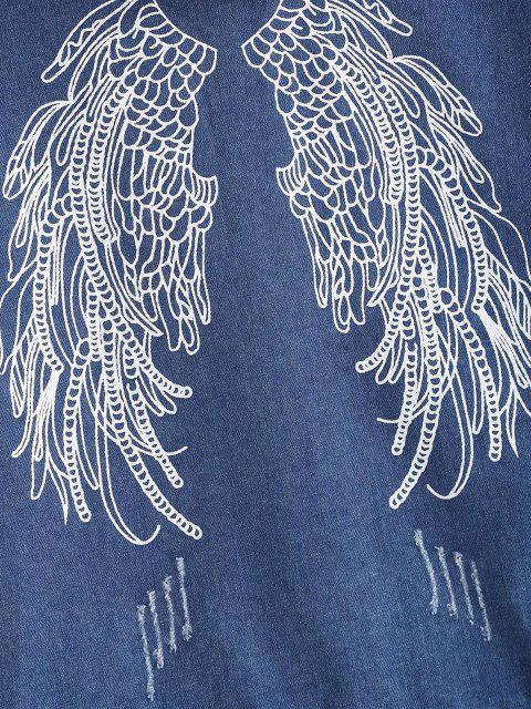 Graphic Rückseite Distressed Combo Jeansjacke - Blau M Mobile