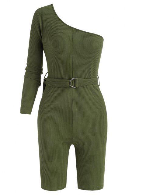 Mono Femenino de Noche Acanalada con Cinturón - Verde Oscuro S Mobile