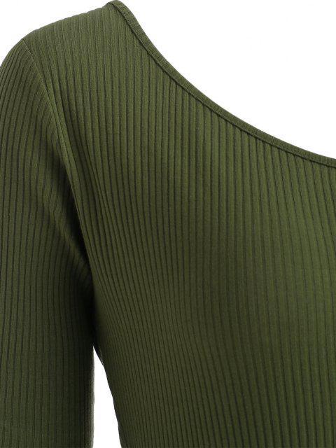 unique Belted One Shoulder Ribbed Unitard Romper - DEEP GREEN M Mobile