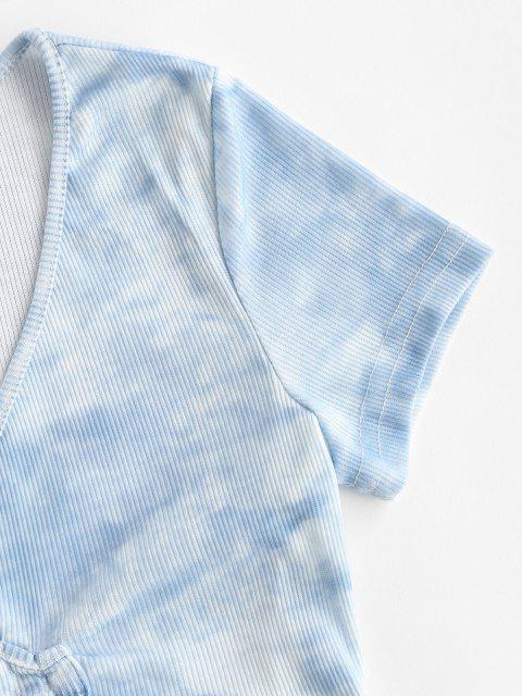 Tee com Nervuras e Tingimento de Gravata Surplice - Azul claro S Mobile