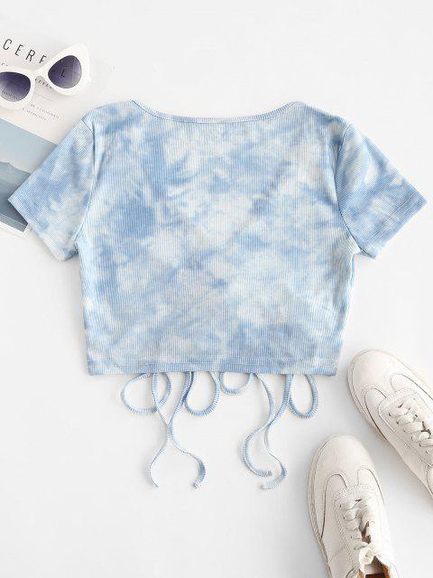 T-shirt Superposé Teinté Côtelé avec Lacets - Bleu clair S Mobile