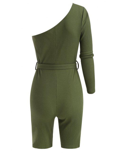 affordable Belted One Shoulder Ribbed Unitard Romper - DEEP GREEN L Mobile