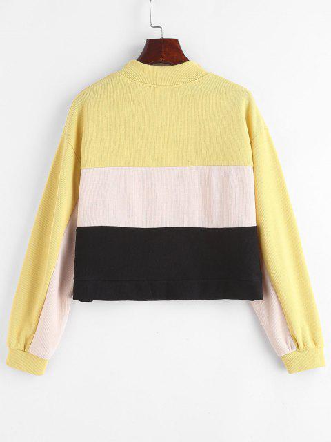 Sweat-shirt Floral en Blocs de Couleurs à Demi-Zip - Multi-A L Mobile