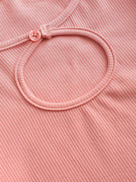 online Rib-knit Keyhole Long Sleeve Crop Top - FLAMINGO PINK S Mobile