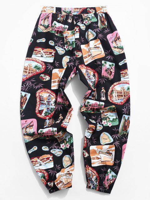 ZAFUL Pantalones Casuales de Estampado de Hawai - Negro S Mobile