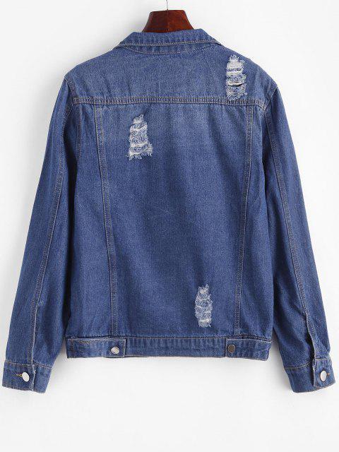 Beunruhigter Knopf Oben Taschen Jeansjacke - Blau XL Mobile