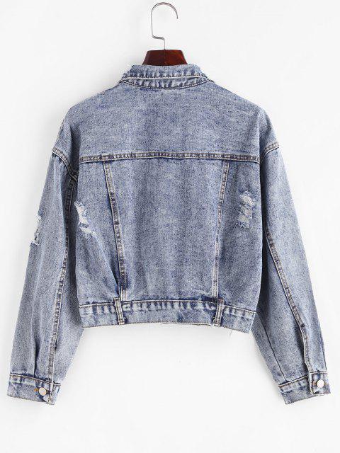 Zerrissene Pailletten Taschen Denim Jacke - Blau S Mobile