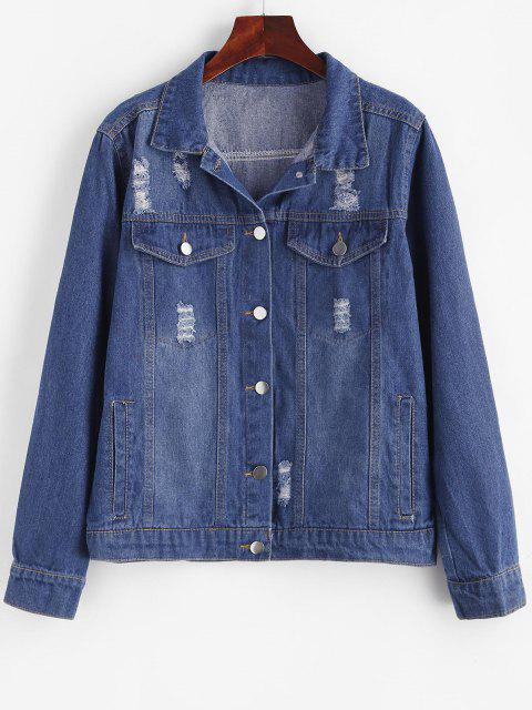 latest Distressed Button Up Pockets Denim Jacket - BLUE L Mobile