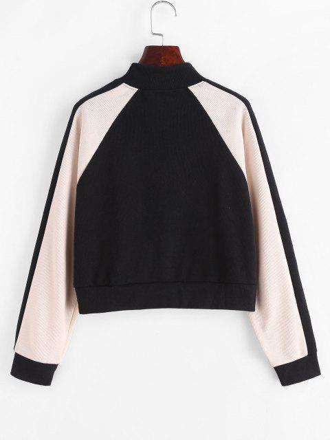 outfit Half Zip Butterfly Colorblock Sweatshirt - BLACK M Mobile