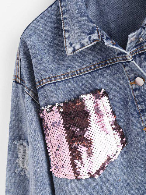 buy Ripped Sequined Pockets Cropped Denim Jacket - BLUE M Mobile