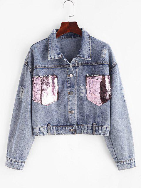 Ripped Sequined Pockets Cropped Denim Jacket - أزرق M Mobile