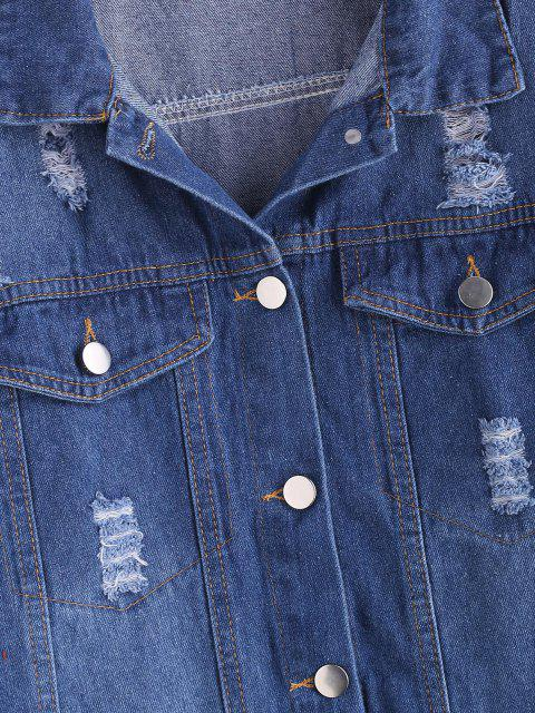 womens Distressed Button Up Pockets Denim Jacket - BLUE M Mobile