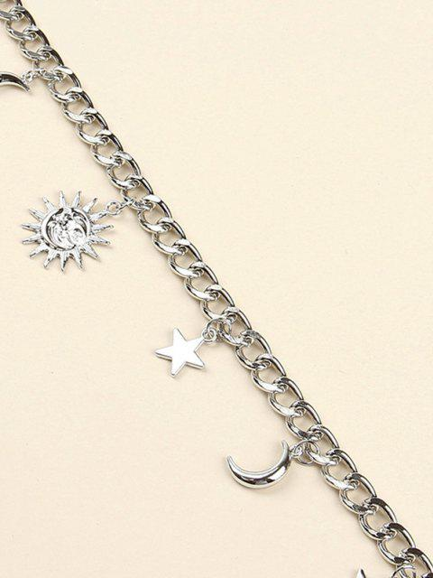 trendy Sun Moon Star Pendant Trousers Chain - SILVER  Mobile
