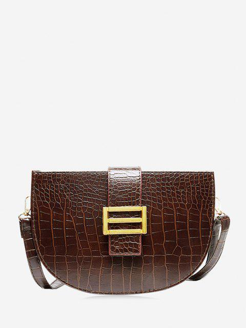 unique Textured Crossbody Saddle Bag - DEEP COFFEE  Mobile