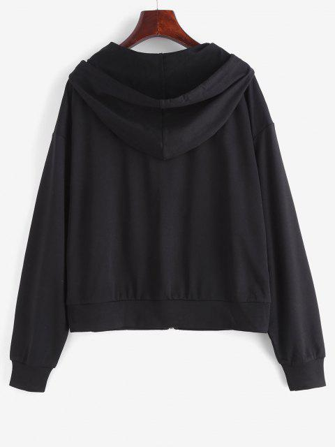 Zip Up CALIFORNIA Graphic Drawstring Hoodie - أسود S Mobile