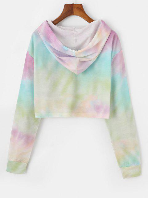 outfits Cropped Sun Graphic Tie Dye Hoodie - LIGHT PURPLE M Mobile