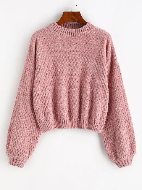 shops Drop Shoulder Lantern Sleeve Chenille Sweater - LIGHT PINK ONE SIZE Mobile