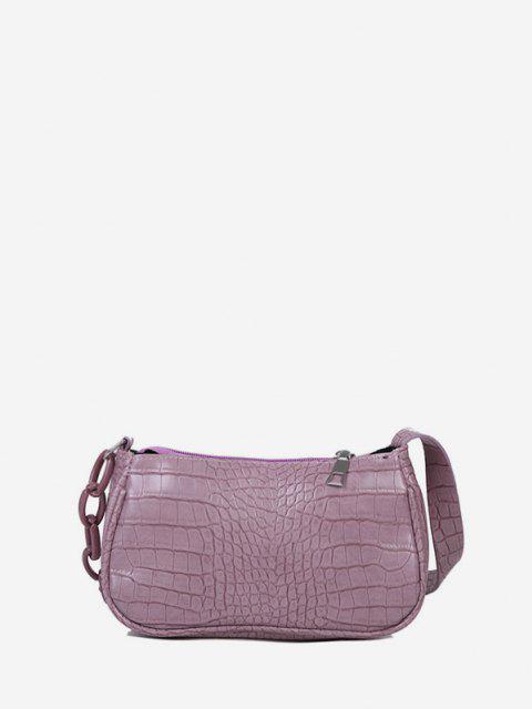 ladies Animal Embossed Leather Underarm Shoulder Bag - LIGHT PURPLE  Mobile