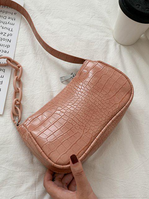 lady Animal Embossed Leather Underarm Shoulder Bag - LIGHT PINK  Mobile