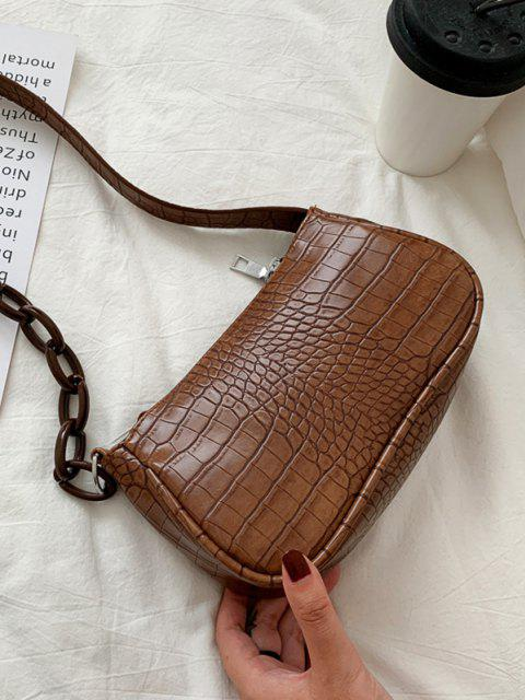 best Animal Embossed Leather Underarm Shoulder Bag - COFFEE  Mobile