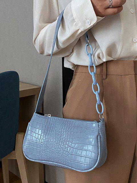 online Animal Embossed Leather Underarm Shoulder Bag - LIGHT BLUE  Mobile
