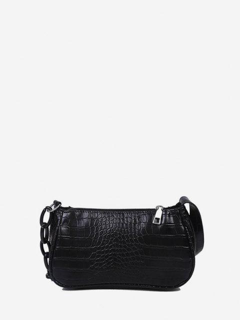 affordable Animal Embossed Leather Underarm Shoulder Bag - BLACK  Mobile