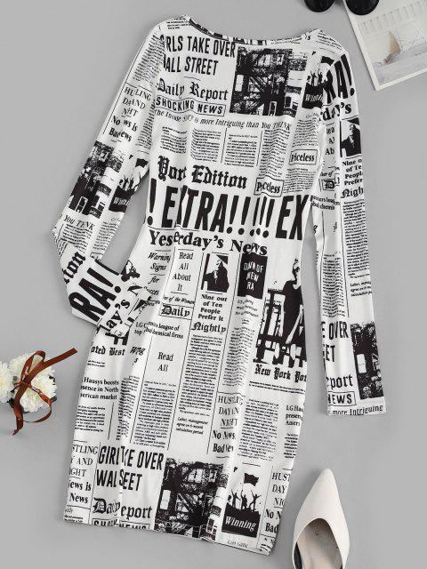 fashion Long Sleeve Newspaper Print Milkmaid Dress - WHITE M Mobile