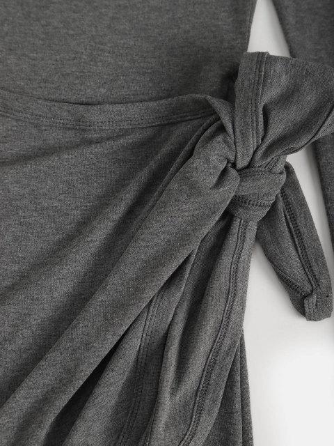 Robe Moulante Taille Nouée à Manches Longues à Col Oblique - Gris S Mobile