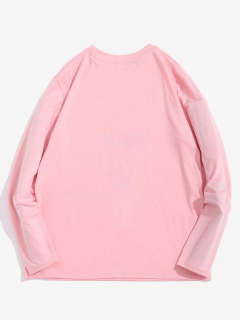unique ZAFUL Funny Smoking ET Print Long Sleeve T-shirt - LIGHT PINK XL Mobile