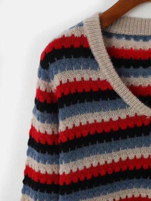 Suéter Pulôver Listrado Gola V - Azul Um Tamanho Mobile