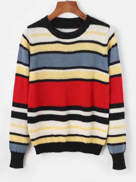 Camisola suéter listrada com gola redonda - Vermelho Um Tamanho Mobile