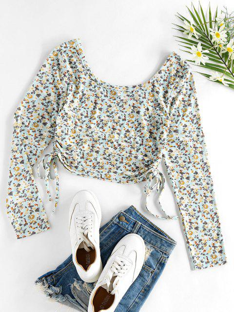 latest ZAFUL Ditsy Print Cinched Cropped T Shirt - LIGHT BLUE M Mobile