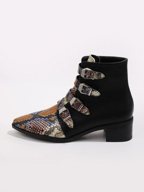 trendy Multi-color Snake Print Pointed Toe Ankle Boots - MULTI-A EU 41 Mobile
