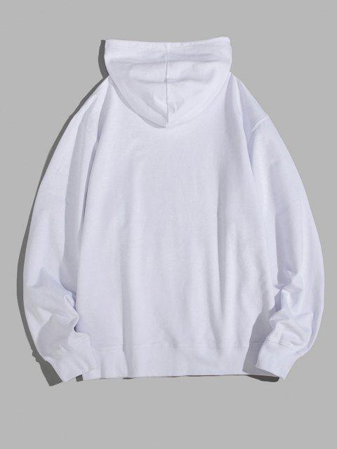 shops Letter Graphic Pouch Pocket Drawstring Hoodie - WHITE S Mobile