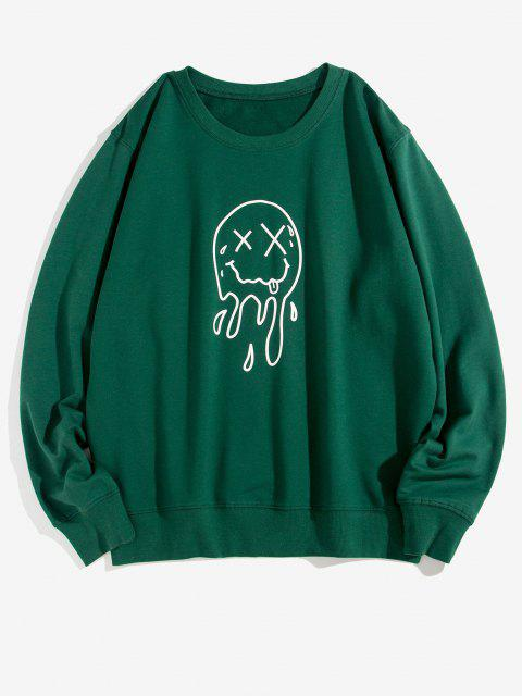 womens Crew Neck Drip Face Graphic Lounge Sweatshirt - DEEP GREEN XS Mobile